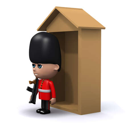 buckingham: 3d render of a Coldstream Guard outside his sentry box side view