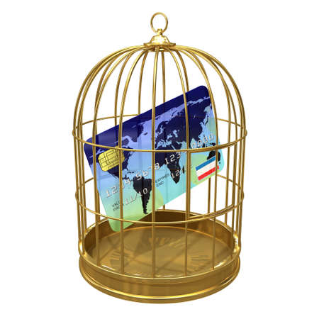 detained: 3d render of credit card in a birdcage