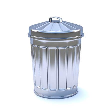 wasteful: 3d render of a galvanized steel rubbish bin