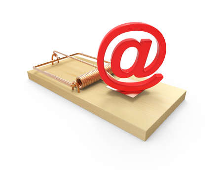 deceptive: 3d render of a mousetrap with an email address symbol as bait