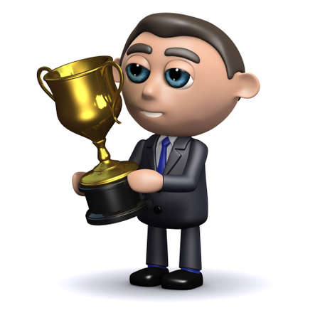 3d render of a salesman holding a gold trophy cup photo