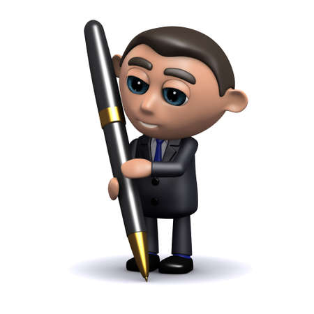 formal signature: 3d render of a salesman writing with a pen