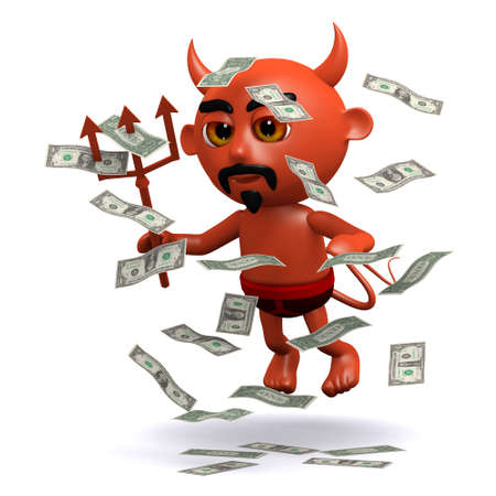 windfall: 3d render of a devil with a windfall of US Dollars