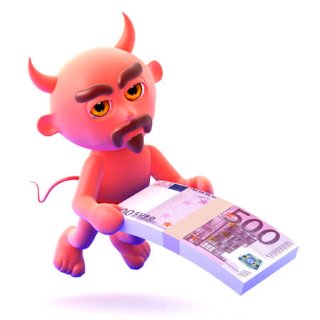 wad: 3d render of a devil holding a wad of Euro bank notes