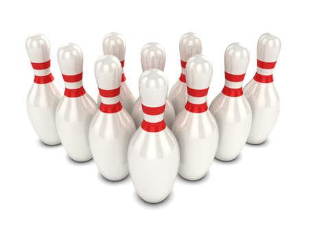 skittles: 3d render of ten bowling pins