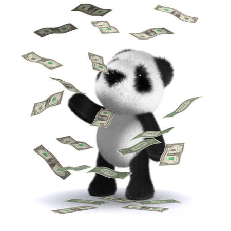 windfall: 3d render of a baby panda bear in a windfall of US Dollars