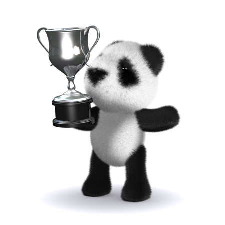 3d render of a panda bear holding up a silver cup photo