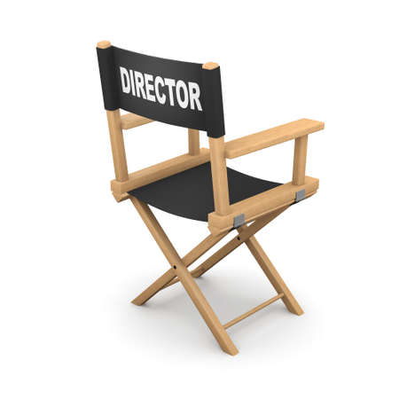 film production: 3d render of a movie directors chair from the back Stock Photo