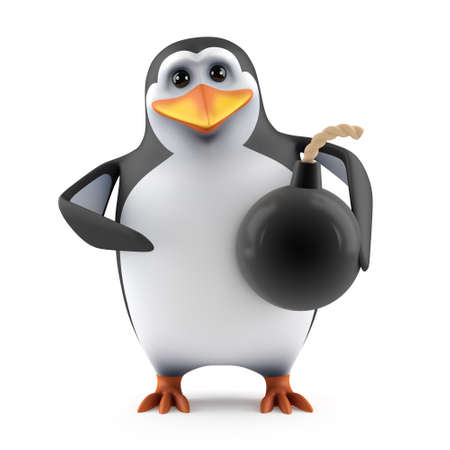 3d render of a penguin holding a bomb photo