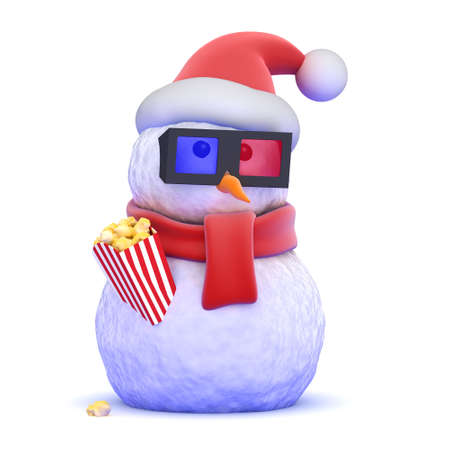 3d film: 3d render of a snowman wearing a Santa Claus hat eating popcorn Stock Photo