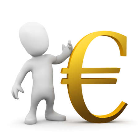 3d render of a little person with a gold Euro currency symbol photo