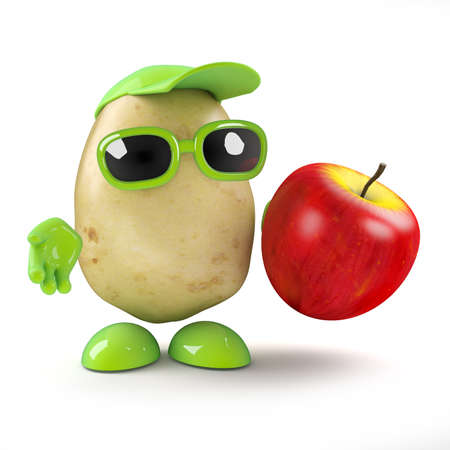 3d render of a potato character holding an apple photo
