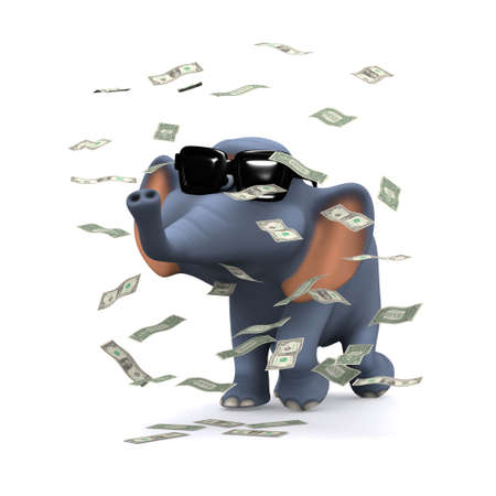 windfall: 3d render of an elephant surrounded by falling US Dollar bills