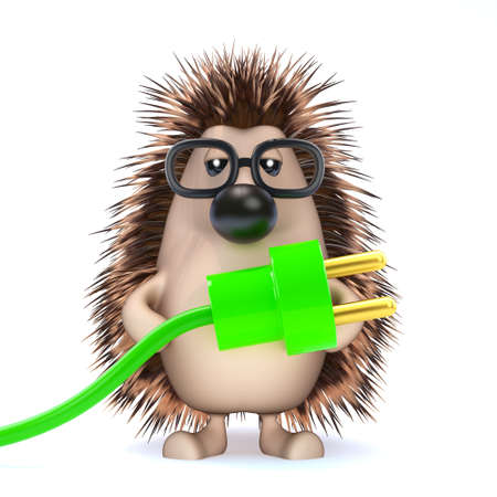 power cord: 3d render of a hedgehog holding a green power cord and plug Stock Photo