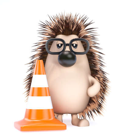 roadworks: 3d render of a hedgehog with a traffic cone