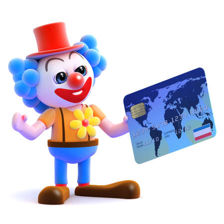 3d render of a clown with a credit card photo