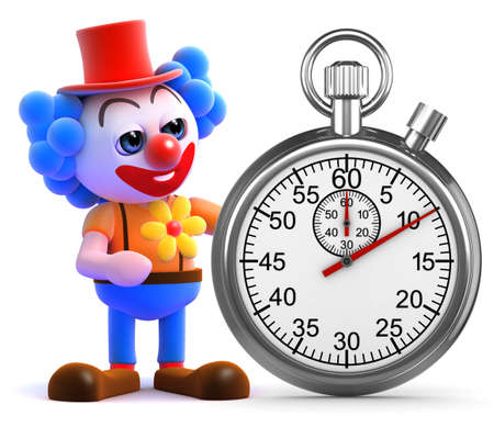 3d render of a clown with a stopwatch photo
