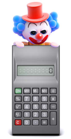 sums: 3d render of a clown looking over a calculator