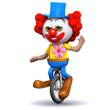 3d render of a clown on a unicycle waving hello photo
