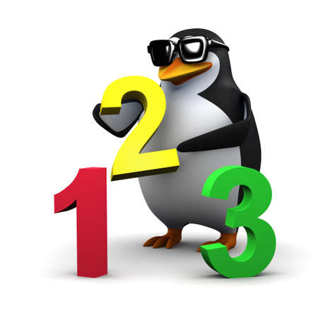 numeracy: 3d render of a penguin with numbers