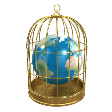 trapped: 3d render of a globe of the Earth trapped inside a birdcage Stock Photo
