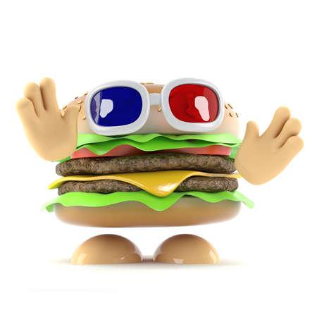 beefburger: 3d render of a beefburger wearing 3d glasses