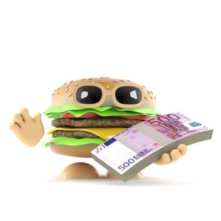 beefburger: 3d render of a beefburger holding a wad of banknotes Stock Photo