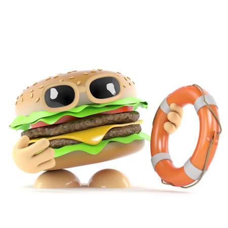 beefburger: 3d render of a beefburger offering a lifering Stock Photo