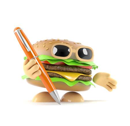 beefburger: 3d render of a beefburger holding a pen