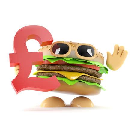 beefburger: 3d render of a beefburger holding a UK Pounds Sterling currency symbol Stock Photo