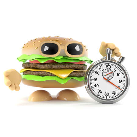 beefburger: 3d render of a beefburger with a stopwatch