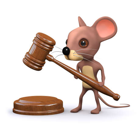 auctioneer: 3d render of a mouse with an auctioneers gavel