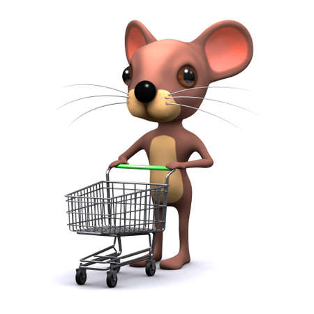 empty shopping cart: 3d render of a mouse pushing an empty shopping cart