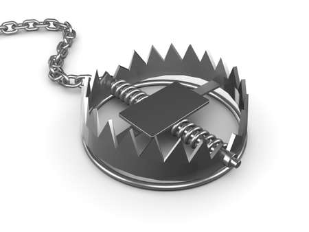 bear trap: 3d render of a bear trap on a chain Stock Photo