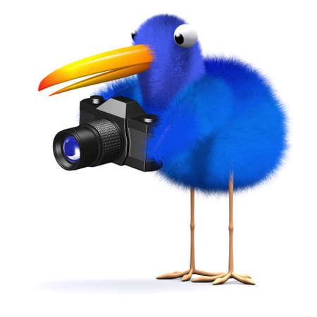 bluebird: 3d render of a bluebird holding a camera Stock Photo