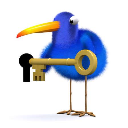 3d render of a blue bird holding a gold key next to a key hole photo