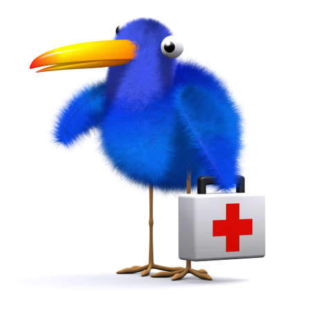 3d render of a blue bird with a first aid kit photo