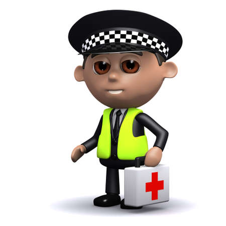 3d render of a police man carrying a first aid kit photo