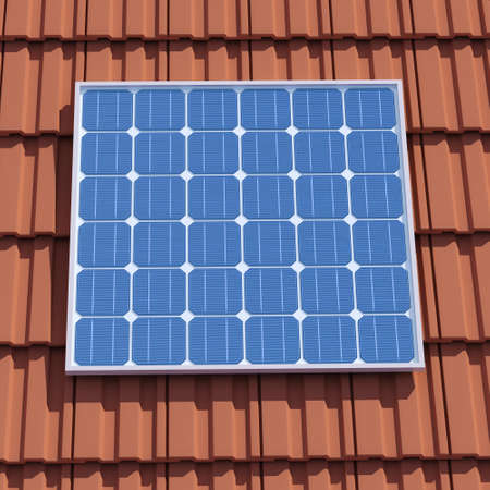 voltaic: 3d render of a solar panel on a tiled roof Stock Photo