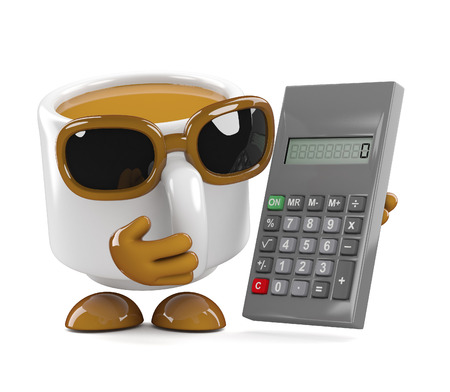 sums: 3d render of a coffee cup holding a calculator