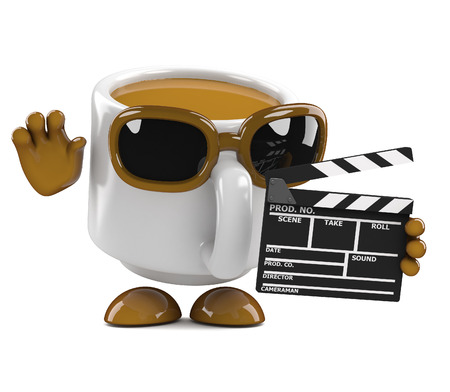 3d render of a coffee cup character holding a clapperboard photo