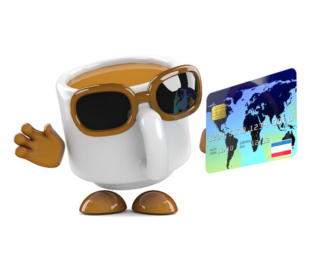 3d render of a coffee cup character holding a debit card photo