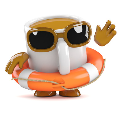 life belt: 3d render of a coffee cup character wearing a life belt