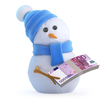 wad: 3d render of a snowman with a wad of Euro bank notes