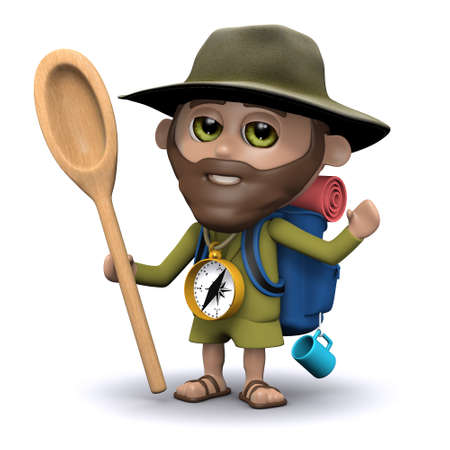 wooden spoon: 3d render of an explorer holding a wooden spoon