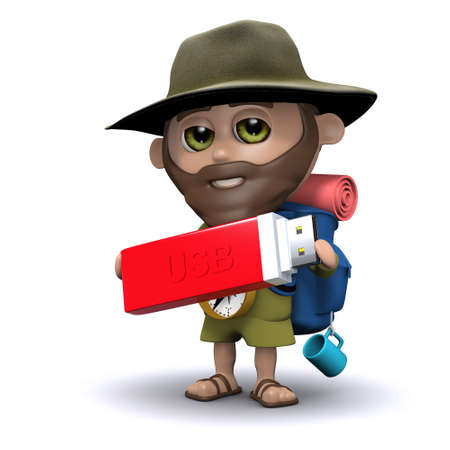 3d render of an explorer holding a USB memory stick photo