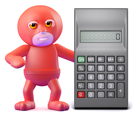 sums: 3d render of a superhero with a calculator