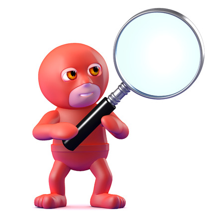 clues: 3d render of a superhero holding a magnifying glass