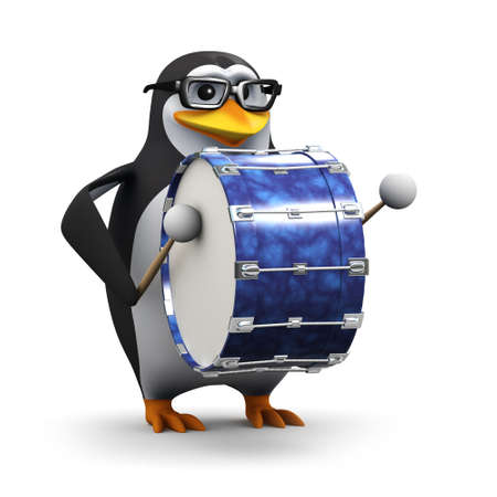 percussionist: 3d render of a penguin marching while playing a bass drum