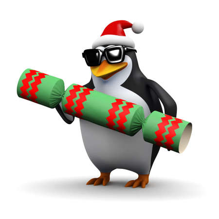 christmas cracker: 3d render of a penguin wearing a Santa Claus hat and holding a Christmas cracker Stock Photo